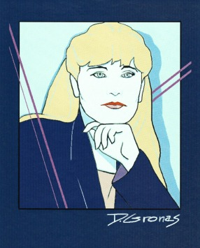 Self Portrait in manner of Patrick Nagel in Painter | Diane Gronas