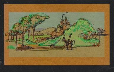 Fantasy Journey - Ink sketch on kraft paper Photoshop color | Diane Gronas