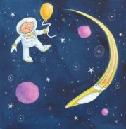 Space Giftwrap Repeat - Watercolor colored pencil | Diane Gronas