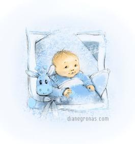 Baby Boy & Blue Giraffe | Diane Gronas